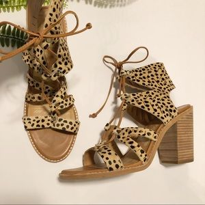 Dolce Vita vegan cheetah calf hair block heels